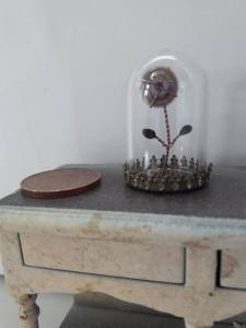 steampunk flower in glass dome